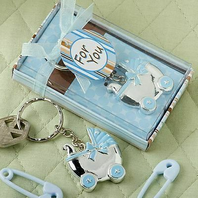 50 - Blue Baby Boy Carriage Design Key Chains Shower Favor - Free US Shipping