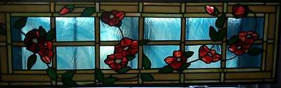 """Roses on Lattice"",Stained Glass Window"