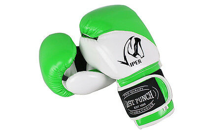 Last Punch 12oz Adult Size White and Green Viper Boxing Gloves