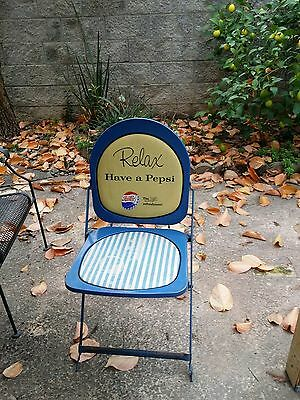 Rare Vtg 1950's Have A Pepsi Cola Relax Folding Metal Chair Sign Advertisement