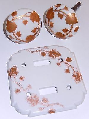 Limoges Porcelain Door Knobs Switch Plate Porcelaine de Paris Gold Leaves Vines