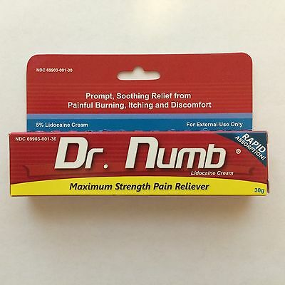 Dr Numb 5% Lidocaine Cream 30 gr Skin Numbing Tattoo/Removal Waxing Anorectal