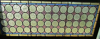 ANTIQUE STAINED GLASS WINDOW CIRCLE PATTERN 19 BY 48, 1 of 2