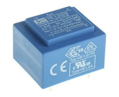 1 x Block VB 1.0/2/8, 8V ac 2 Output PCB Transformer, 1VA, 240VAC