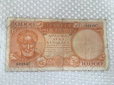 Greece 10000 Drachmai 1947 BANKNOTE~Free Shipping~