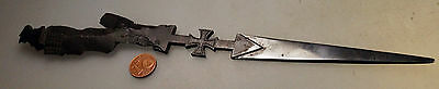 ANTIQUE WW1 Artillery Shrapnel letter opener trench art Iron Cross.