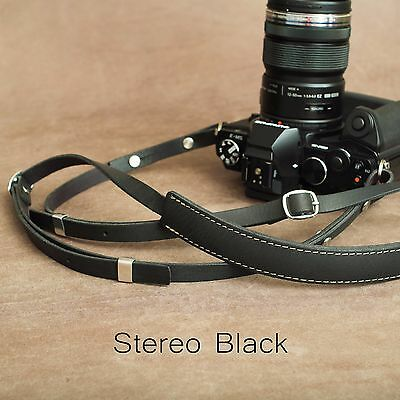 "1901 ""Steichen"" Leather Camera Strap - ADJUSTABLE 107-146cm - Stereo Black"