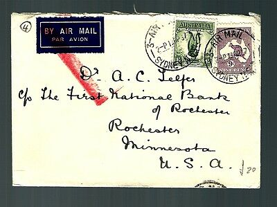 Austrailia early air mail cover 9d Roo  (x078)