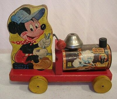 Fisher Price #485 Mickey Mouse Choo Choo Train Pull Toy