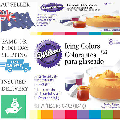 Wilton Icing Colours 8 Set - Food Colouring Gel Paste - Icing Cake Colour Pack