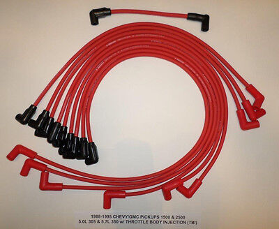 1988-95 CHEVY/GMC PICKUPS 1500 & 2500 5.0L/305 5.7L/350 TBI RED Spark Plug Wires
