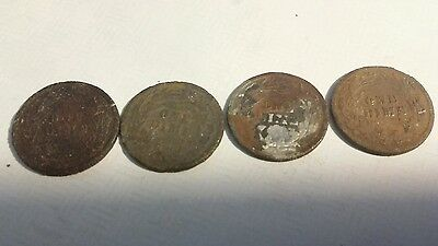 Lot of 4 count 90% Silver Barber Dimes, Metal Detector Finds!