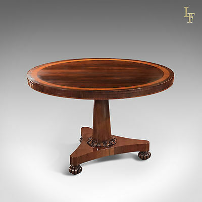 Antique Breakfast Table William IV Rosewood Tilt Top English Dining Centre c1830