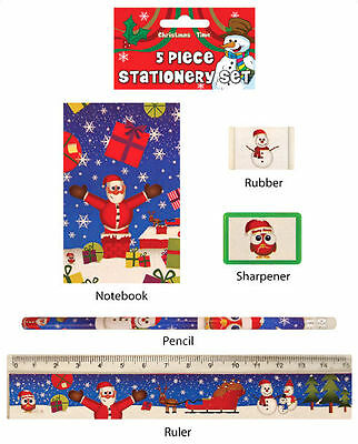 6 Christmas Stationery Sets - Toy Loot/Party Bag Fillers Wedding/Kids