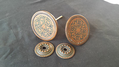 Antique Round/Flat Door Knob set with cover plates