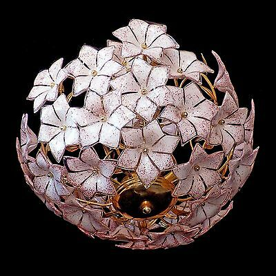 Stunning XL Large Vintage Italian Murano Pink Flower Venini Art-Glass Chandelier