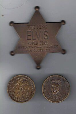 Elvis Presley STAR!! The King Lives! Solid Brass Fan Club Badge! PLUS COIN!