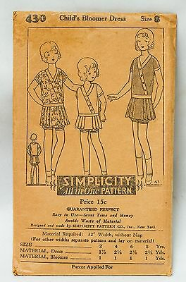1920s Simplicity Pattern~Child's Bloomer Dress~SZ 8~#430