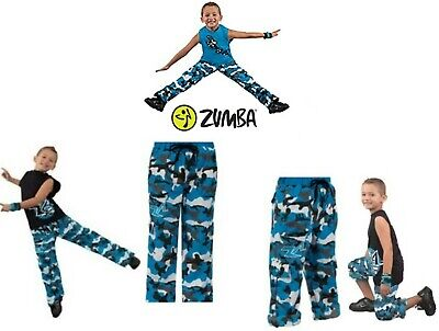New Zumba Cargo Pants Youth Blue Camo Boys Fitness Gym Workout Convertible
