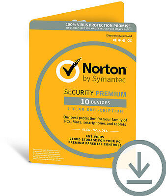 Symantec Norton Security Premium + Backup 25GB 10-Devices 1Year|Digital Download