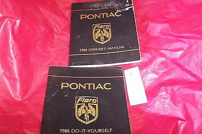 Pontiac Fiero 1986 Owners manual and do it yourself guide book pamphlet