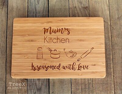 Personalized laser engraved cutting board, chopping board, mums kitchen
