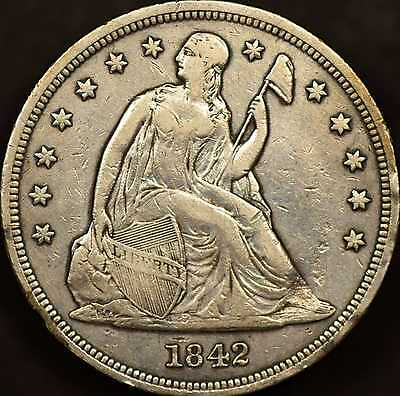 1842 Seated DollarChoice Very Fine