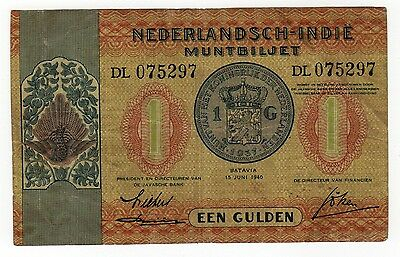 Dutch East Indies:  1 Gulden  (1940)  (Dl 075297)