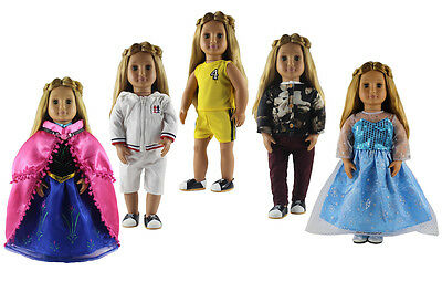 5 set Doll Clothes for 18'' American Girl Doll Princess Costumes Dress