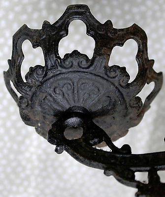 SALE Heavy Antique Cast Iron Wall Sconce Oil Lamp Holder, Eastlake Look