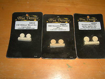 Three Sets of TRUE DETAILS Military Aircraft WHEEL SETS 1/48 Scale