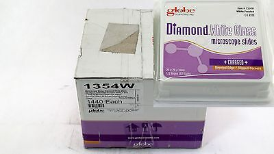 Globe Scientific Microscope Slides Diamond White Charged Beveled Clipped 1440p