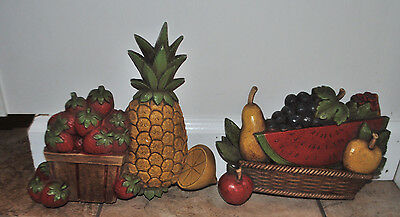 Vintage Homco Fruit Pineapple Watermelon Strawberries Wall Plaques