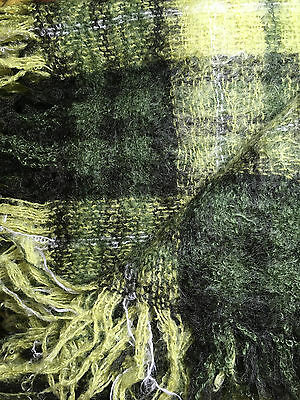 "Vintage Scottish Mohair  56 x 64"" rug/throw dark and pale green (label missing)"