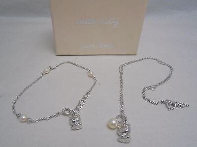 Rare! Tasaki HELLO KITTY Sterling Silver Pendant and Bracelet with Pearl Set!