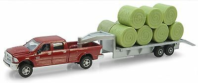 ERTL Dodge Pickup with Diecast Trailer and Bales, 1:64-Scale