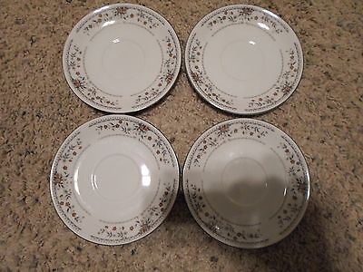 Claremont Fine Porcelain China Floral Saucers Set of 4 Japan Free Shipping