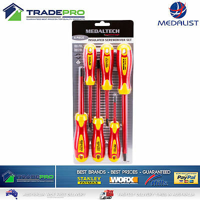 Insulated Electrician Screwdriver Set PRO 6pc 1000V VDE Wiha Style Slimfix Soft