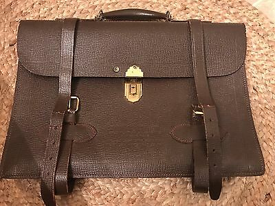 WWII Military NAVIGATORS MB-1 Leather Briefcase Brass Hardware Pilot