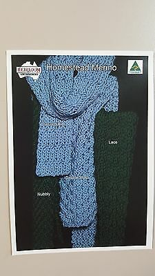 Heirloom Knitting Pattern #HL470 Scarves to Knit in Homestead Merino 4 Styles