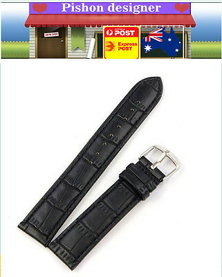 18 20 22 24mm Genuine Leather Embossed  Replace Wrist Watch Band Strap Unisex