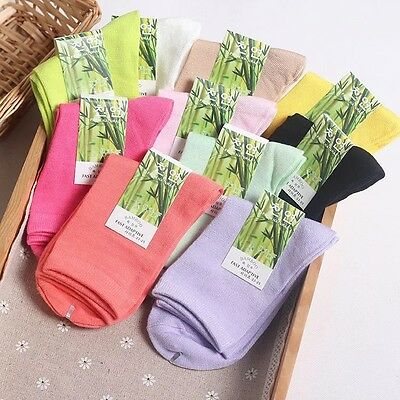 10 Pack Womens Bamboo Fiber Casual Sports Multicolor Warm Soft Solid Basic Socks