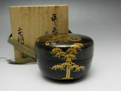 MAKIE NATSUME Vintage Japanese Gold Lacquer Tea Caddy w Signed Box #1313