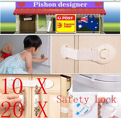 10 x Child Adhesive Kids Baby Cute Safety Lock For Door Drawers Cupboard Cabinet