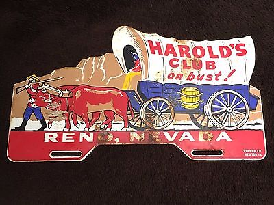 Steel Harold's Club Casino or Bust Old Reno Nevada License Topper Sign Gun Wagon