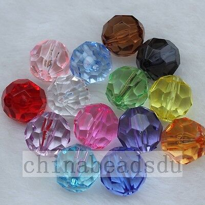 8MM 100Pcs Acrylic Crystal Facted Loose Spacer Beads Charms DIY Jewelry Making
