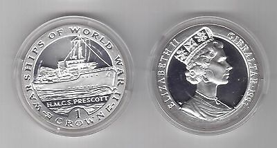 GIBRALTAR – SILVER 1 CROWN UNC COIN 1993 YEAR KM#120a SHIP HMC S PRESCOTT