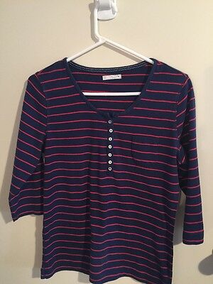 Pre-loved Ladies size 14 Neat Cotton 3/4 Sleeve Blue and Red Top