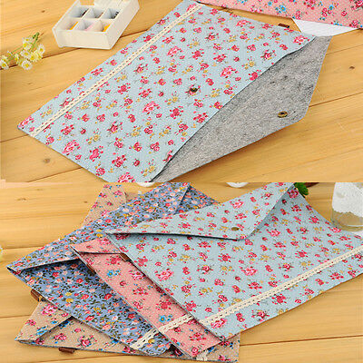 A4 Floral Bags File Document Pouch Bills Folder Card Holder Organizer Fastener