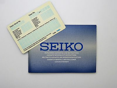 Vintage SEIKO Worldwide Guarantee & Instruction Booklet *Blank Certificate*